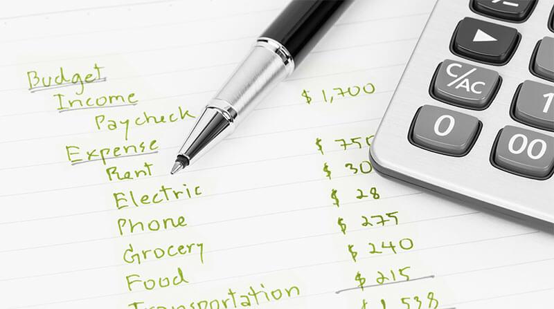 pen, calculator and budget
